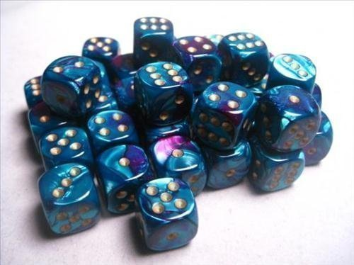Chessex Dice d6 Sets: Gemini Purple & Teal with Gold - 12mm Six Sided Die (36) Block of Dice ()