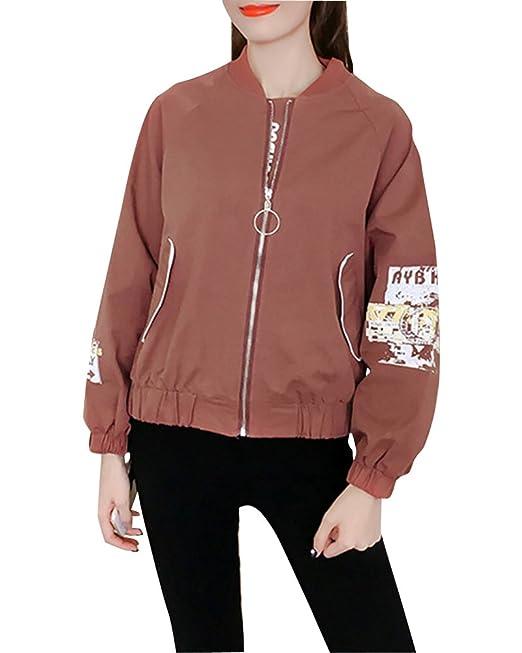 Mujeres Casuales Universitario Chaqueta Sudadera Baseball Abrigos Jacket Outerwear Tops Blazer Motocicleta Marrón Claro L