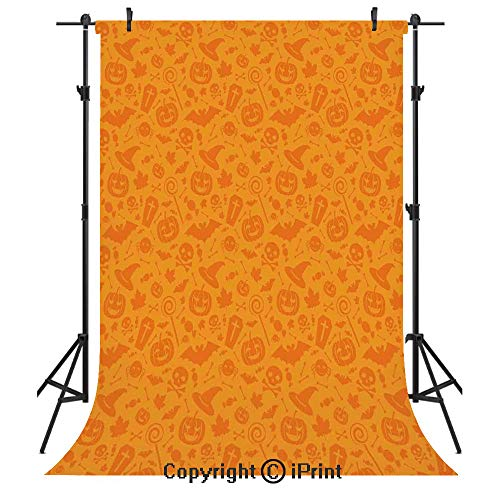 Halloween Decorations Photography Backdrops,Monochrome Design with Traditional Halloween Themed Various Objects Day,Birthday Party Seamless Photo Studio Booth Background Banner -