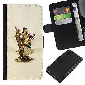 LECELL--Cuero de la tarjeta la carpeta del tirón Smartphone Slots Protección Holder For Sony Xperia Z3 D6603 -- Warrior Woman & Sword --