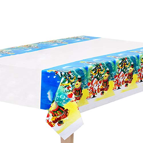 Sunm boutique Christmas Disposable Tablecloth Hotel Restaurant Home Table Decoration Waterproof Tablecloth (Pack of 6)