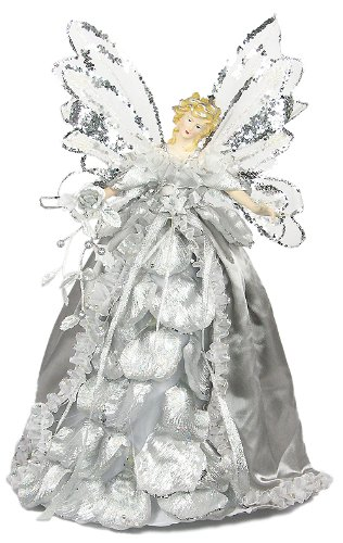 "15"" Angel Rose Silver Tree Topper"