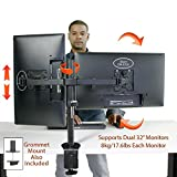 "Boost Dual/2 Monitor Desk Mount for up to Two 32"" Monitors Screens Stand. DM-EX20 Dual Arm Mount for Acer, Asus, Dell, ViewSonic, BenQ, Philips, Samsung, Apple, Samsung Computer Screens. Supports 8kg (17.6lbs)"