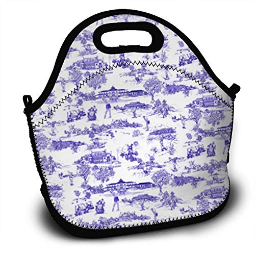 Midsummer Sky Neoprene Lunch Bags Hamptons Golf Insulated Lunch Tote Lunchbox Thermal Carrying with Zipper for Men Women Kids