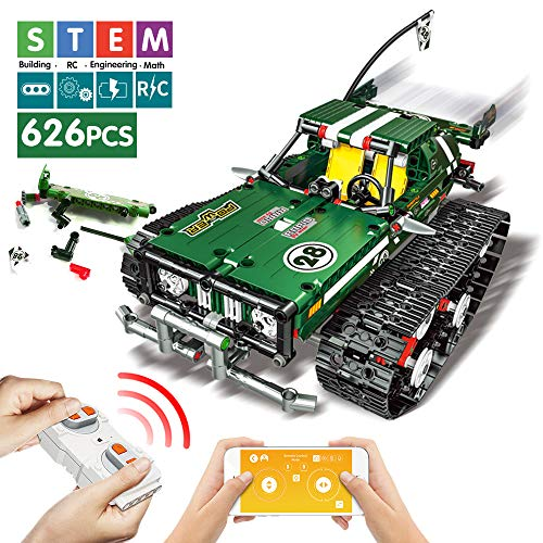DAYE Remote Control Building Blocks Car RC Tracked Racer Building Blocks Kits High Speed Cars, Learning, STEM Toys for Kids Age 6, 8, 9, 12, 13 and 14 Year Old Best Educational Building Blocks (Green) (Car Remote Kits Rc Control)