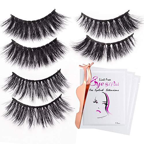 3D Fake Eyelashes-3 Styles Fluffy Eyelashes Reusable Naturally Handmade Soft Curl Luxury Fashion Fake Lashes With EyeLash Tweezers Makeup Tools For Women Ladies Girls (7 PCS)