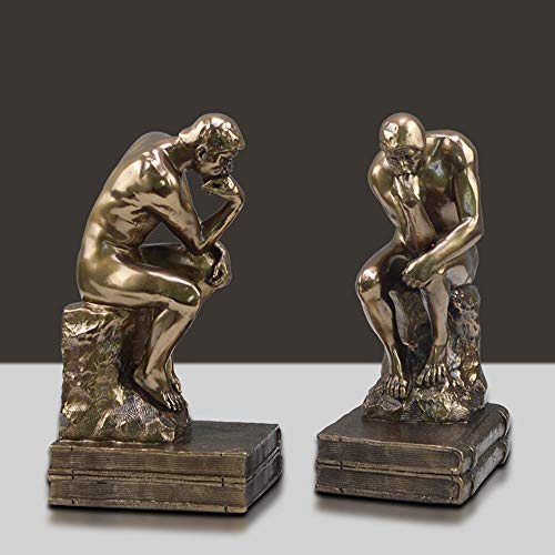 (JHart Thinker bookends,Thinker Statues, Character Figurine, Resin handicrafts, Gifts, Collectibles, Decorative Office Living Room Bedroom Porch, etc,Bronze)