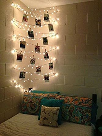 Lilone Photo Clip String Lights Warm White Rice (30 Bulb 5 Meters) with Designer Wooden Clips | Great for Birthday Anniversary Christmas Diwali LED Event Party