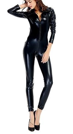 6048bd01811f1 Sorrica Women's Sexy Catsuit Pu Faux Leather Zip up Clubwear Jumpsuit