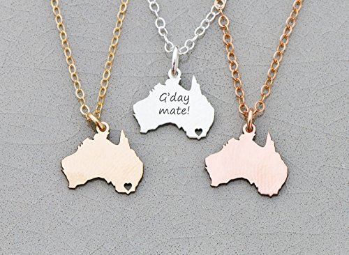 Australia Necklace - IBD - Personalize with Name or Coordinates – Choose Chain Length – Pendant Size Options - Ships in 1 Business Day - 935 Sterling Silver 14K Rose - Australia In Locations
