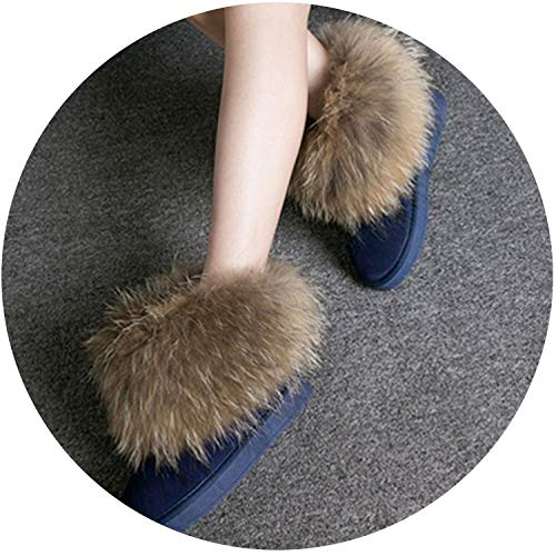 Women Boots Genuine Leather Real Fox Fur Brand Winter Shoes Warm Black Round Toe Casual Plus Size Female Snow Boots DE,Navy Shoes,9 (Seal L-type Puller)