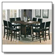 9 Pc Brown Cherry Finish Counter Height Dining Set