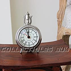 Decorative Collectibles Nickel Finish Marine Table Clock Nautical Maritime Gift 2017 Edition