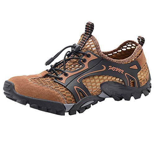 Serzul Men Outdoor Hiking Sneaker Breathable Textile Uppers Comfortable Lightweight Cushioning Creek Shoe Brown