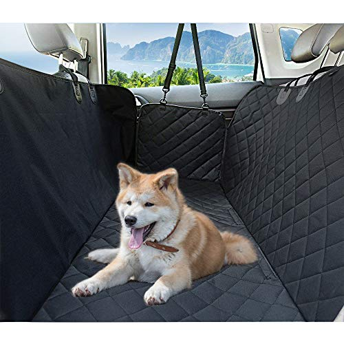 Dog Seat Cover, Pet Car Seat Cover with Zipper Side Flaps for Cars, Trucks and SUVs, Aukor Dog Car Hammock with Seat Anchors and Non-Slip Backing, Durable Waterproof Seat Cover, Standard Size, Black