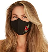 Washable Face Mask with Adjustable Ear Loops & Nose Wire - 3 Layers, Made in USA (Rose Embroid