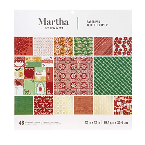 Martha Stewart 30068358 Paper Pad-Red/White/Greenery 12x12 Paperpad, 12 x 12 inches, Multicolor