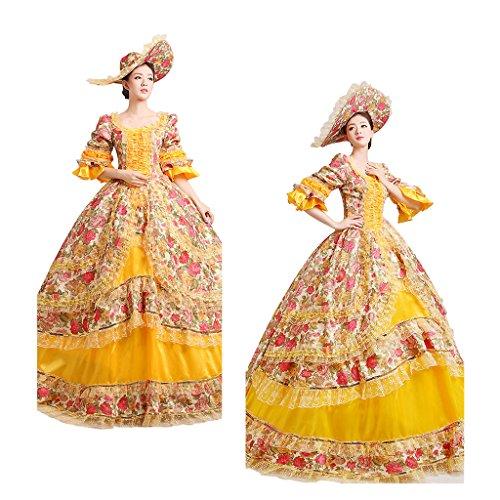 viktorianischen Abendkleid Mädchen Cosplayitem Gelb Lagerter Kostüm Königin Maskerade Gothic Kleid Palace Damen Prinzessin Kleid x4x0a6qwI