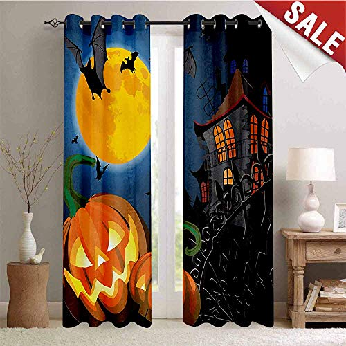 Hengshu Halloween Customized Curtains Gothic Halloween Haunted House Party Theme Design Trick or Treat for Kids Print Window Curtain Drape W84 x L108 Inch Multicolor]()