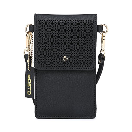 Review Cell Phone Bag, seOSTO PU Leather Crossbody Bag Mini Phone Purse Wallet with Shoulder Strap for iPhone X 8 7 6s Plus/Samsung Galaxy S8 S7 (Black)