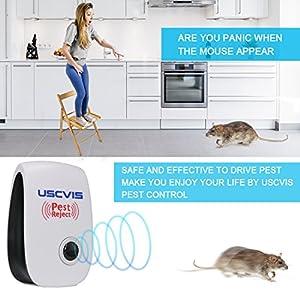 USCVIS Ultrasonic Pest Repeller, Pest control ultrasonic repellent, electronic pest reject for Mice, Spiders, Mosquitoes, Cockroach, Roaches, Fleas, Human & Pet Safe Pest Warrior - 4 Pack