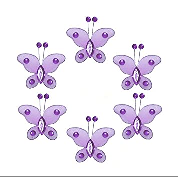 Butterfly Decor 2u0026quot; Purple Lavender Mini X Small Bead Nylon Mesh  Butterflies 6 Piece