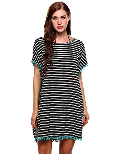 c6398ad9a Soteer Women s Summer Classic Striped Printed Beachwear Bikini Swimwear  Cover Up (XXL
