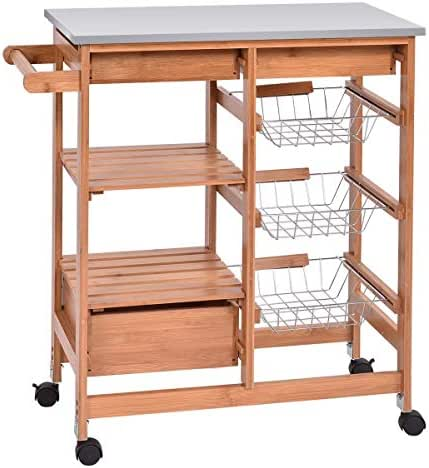 Dayanaprincess Bamboo Kitchen Shelf Island Trolley Cart Rolling Shelf Storage Drawers Utility with Tableware Shelves Basket Dining Wood Rack with Towels Rack