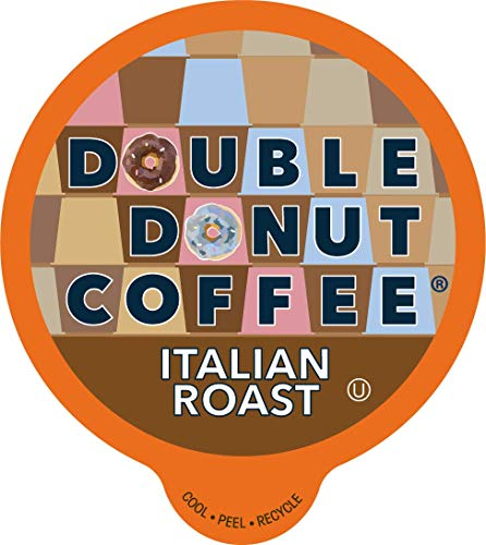 Double Donut Italian Roast Coffee, in Recyclable Single Serve Cups for Keurig K-Cup Brewers, 96 Count