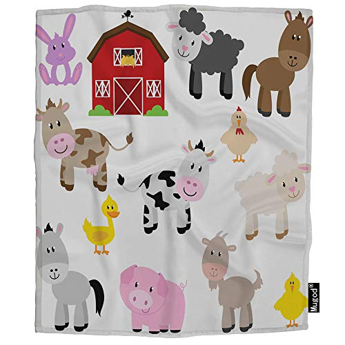 Throw Farm - Mugod Farm Animals and Barn Blanket Goat Lamb Chick Horse Cow Donkey Duck Rabbit Pig Fuzzy Soft Cozy Warm Flannel Throw Blankets Decorative for Boys Girls Toddler Baby Dog Cat 40X50 Inch