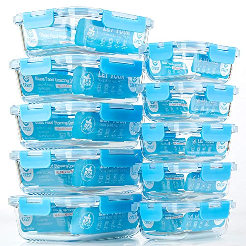 Glass Meal Prep Containers, [10 Pack] Glass Food Storage Containers with Lids, Airtight Glass Bento Boxes, BPA Free & Leak Proof (10 Lids & 10 Containers)