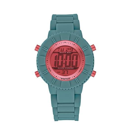 WatxandCo - Reloj DIGITAL ATLANTIC VERDE/CORAL. Reloj digital para niños y niñas con