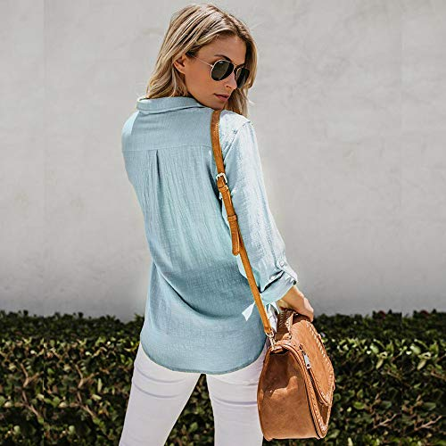 Cotone Solido Pulsante Casual Camicia Donne blue Camicetta Cime Tumblr Lino Camicie Lunga Donna Giù Fepla Da Zolimx Blu Manica xqY8z6w