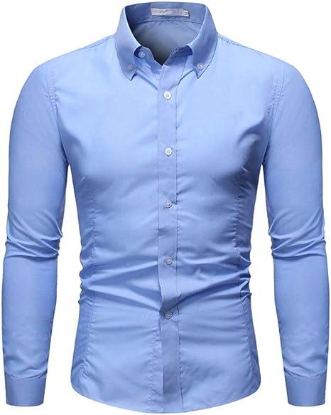 YFSLC-Studio Camisa De Manga Larga Hombre,Luz Azul Hombres Camiseta De Manga Larga De Color Sólido De Moda Vestido Blanco Camiseta Slim Fit Cómoda Camisa De Desgaste: Amazon.es: Deportes y aire libre