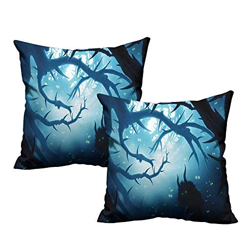 Mystic Decor Square Lumbar Cushion Cover Animal with Burning Eyes in Dark Forest at Night Horror Halloween Illustration Cushion Case for Sofa Bedroom Car 16