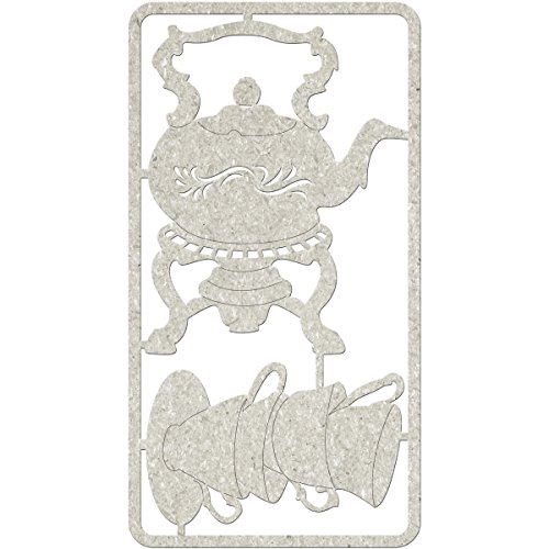 "Fabscraps Die-Cut Teapot & Tea Cup Stack Chipboard Embellishments, 8.25"" by 4.5"", Gray"