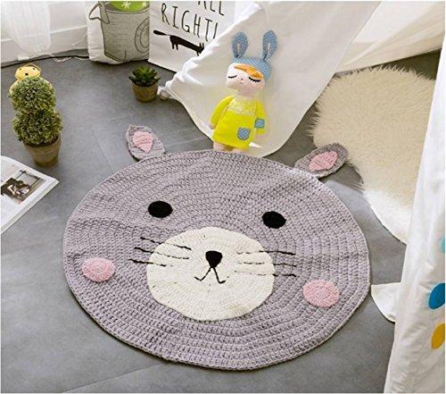 Crochet bear bunny rug Light gray carpet for nursery kids room knitted carpet for baby girls boy room game mat houseware floor home decoration nursery baby shower gift animal trend popular 2017
