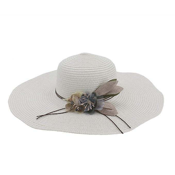 Hu 2020 Buen Sombrero Cap ala Gran Flor de Verano de Las señoras del Sombrero de Paja del Casquillo Damas Jóvenes Sombrero for el Sol Sombrero de Play