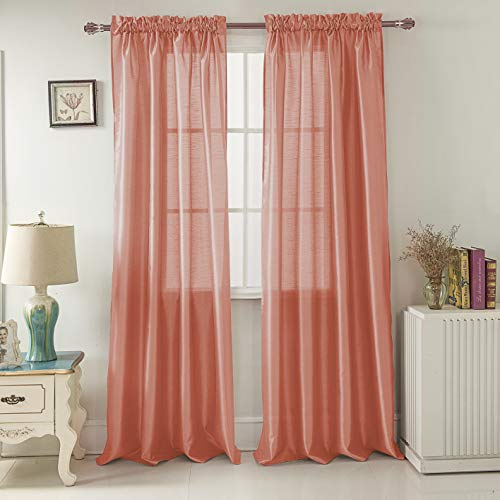 RT Designers Collection Nikki Faux Silk 54 x 84 in. Rod Pocket Curtain Panel, Coral (Coral Curtains Ruffle)