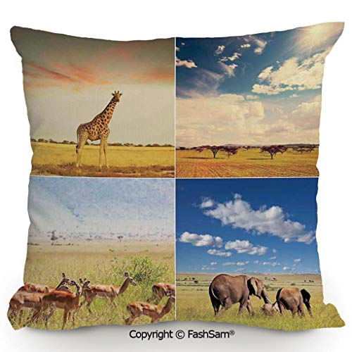 FashSam Home Super Soft Throw Pillow African Safari Collage Lanscape with Native Animals Grassland Savannahs Mamals Photo for Sofa Couch or Bed(24