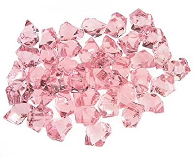 1 Pound Translucent Pink Ice Rocks for Vase Fillers or Table Scatter