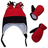N'Ice Caps Boys Sherpa Lined Micro Fleece Four Corner Ski Hat and Mitten Set (2-3 Years, Black/Red)