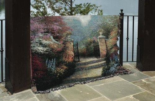 Manual Weavers Thomas Kinkade Victorian Garden Pictoral Tapestry Throw Blanket 50