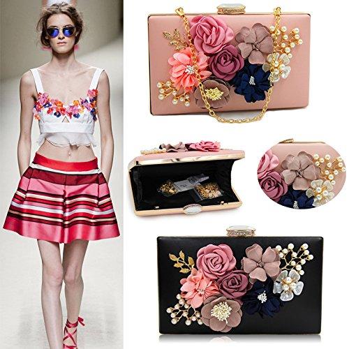 Pearl Flower Evening Clutch Women's Black Wallet Clutch Bag Crossbody Bag Purse Beaded Satin Handbag q1RnUUCxgw