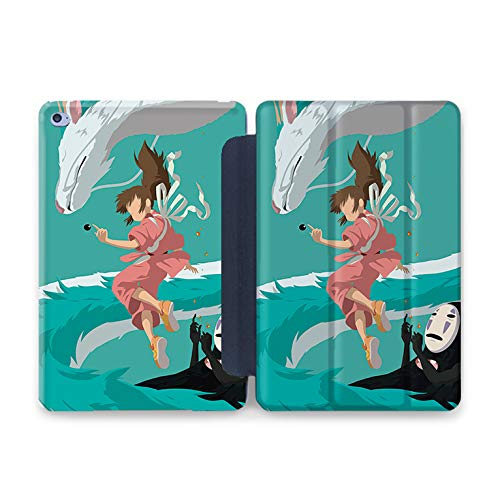 Designs Spirited - ZVStore Dragon Haku with Chihiro iPad Clear Hard Durable Case Combined with PU Smart Cover Convenient iPad Fold Stand Screen Cover Spirited Away Design (iPad 9.7 2017/2018, Black Smart Cover)