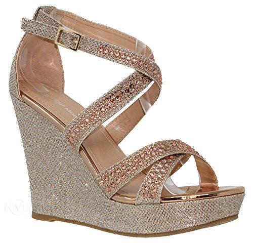 MVE Shoes Women's Strappy Rhinestone Wedges - Open Toe Ankle Strap Platform Sandals - Comfort Summer Platform Wedges, fransky-9 champane 10