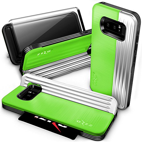 (Zizo Retro Series Compatible with Samsung Galaxy Note 8 Case Military Grade Drop Tested with Tempered Glass Screen Protector NEON Green Silver)