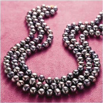 "18"" 14k Gold Three Strand Black Pearl Bib Necklace"