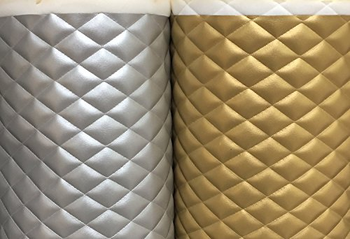 (Vinyl Leather Faux vinyl Quilted Shiny Silver and Gold auto headliner headboard fabric with 3/8