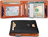 TRAVANDO Slim Wallet with Money Clip RFID Blocking Wallet | Credit Card Holder | Travel Wallet | Minimalist Mini Wallet Bifold for Men with Gift Box (Orange)